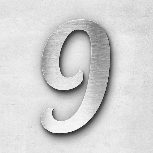 Hausnummer 9 Edelstahl - Serie Elegant