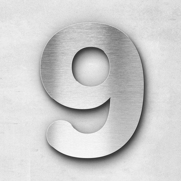Hausnummer 9 Edelstahl - Serie Classic