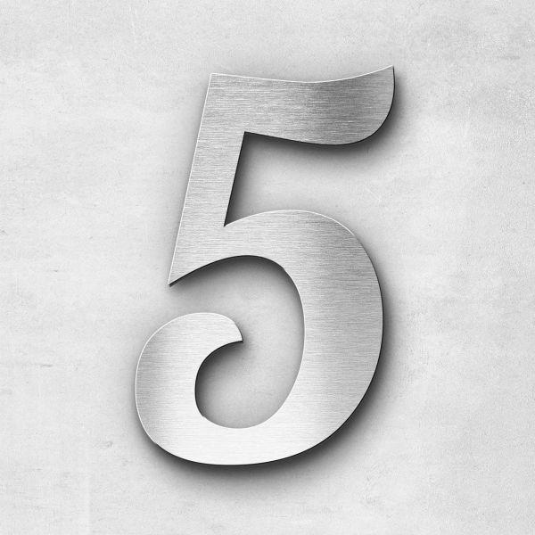 Hausnummer 5 Edelstahl - Serie Elegant