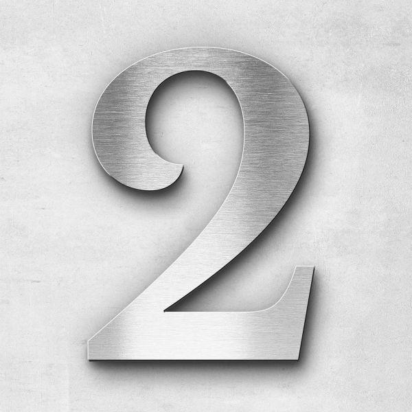 Hausnummer 2 Edelstahl - Serie Serif