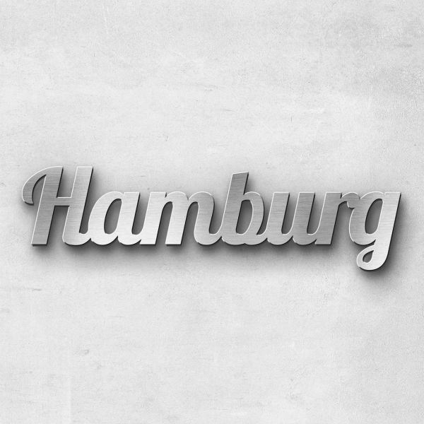 "Schriftzug ""Hamburg"" Edelstahl gebürstet"
