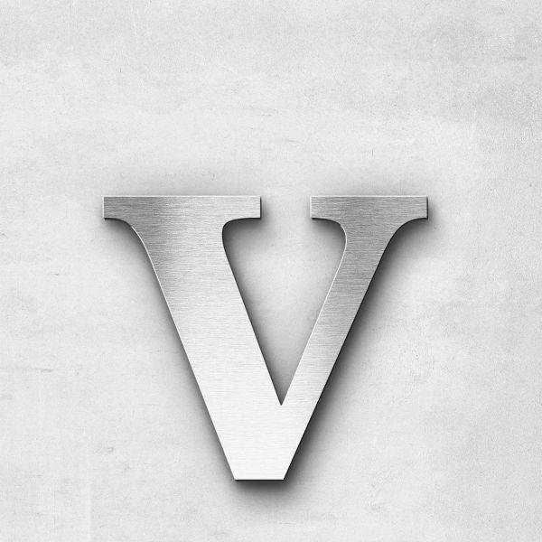 Edelstahlbuchstabe v klein - Serie Serif