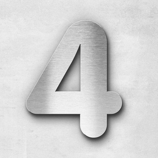 Hausnummer 4 Edelstahl - Serie Classic