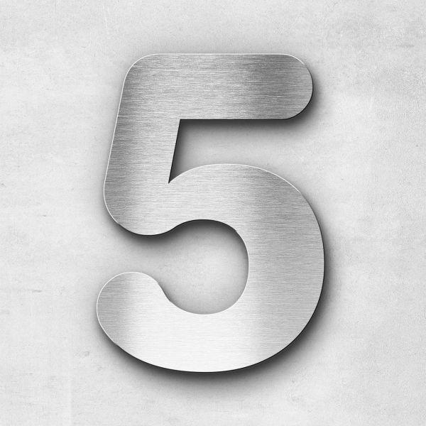 Hausnummer 5 Edelstahl - Serie Classic