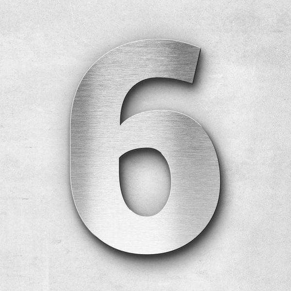 Hausnummer 6 Edelstahl - Serie Sans