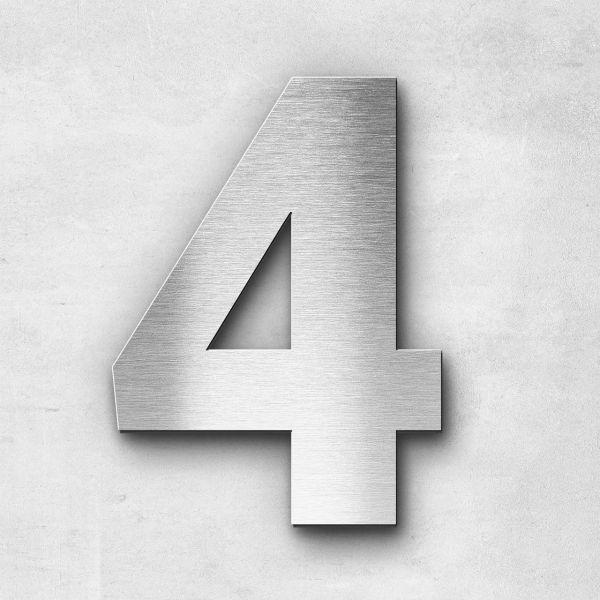 Hausnummer 4 Edelstahl - Serie Sans