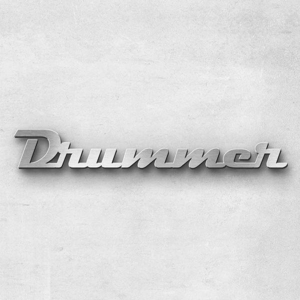 "Schriftzug ""Drummer"" Edelstahl gebürstet"