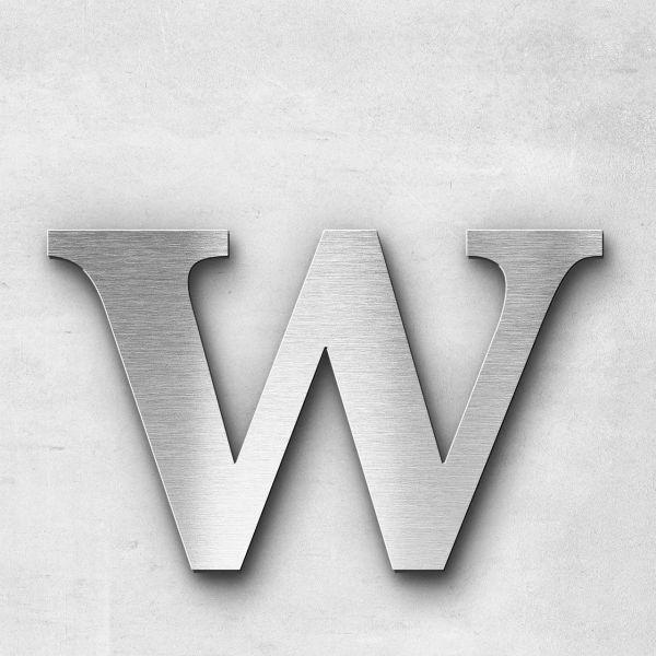 Edelstahlbuchstabe w klein - Serie Serif