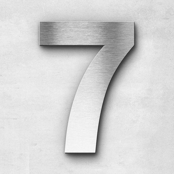 Hausnummer 7 Edelstahl - Serie Sans