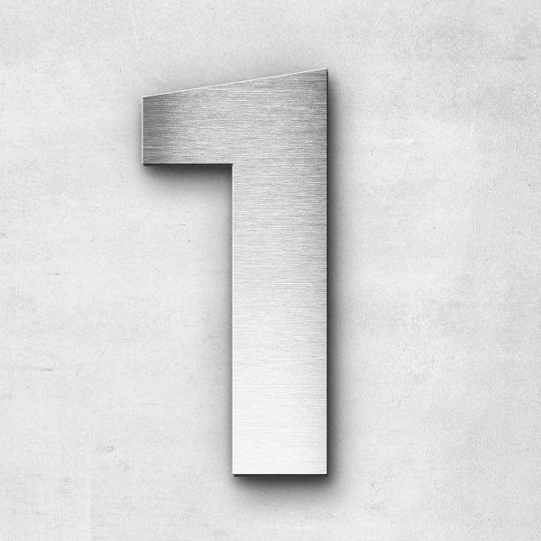 Hausnummer 1 Edelstahl - Serie Sans