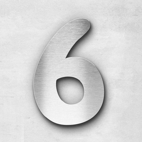 Hausnummer 6 Edelstahl - Serie Darius