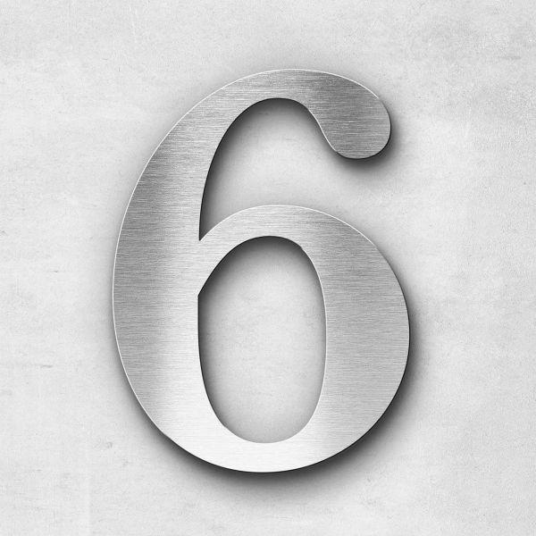 Hausnummer 6 Edelstahl - Serie Serif