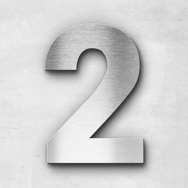 Hausnummer 2 Edelstahl - Serie Sans