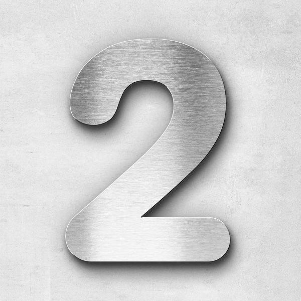 Hausnummer 2 Edelstahl - Serie Classic