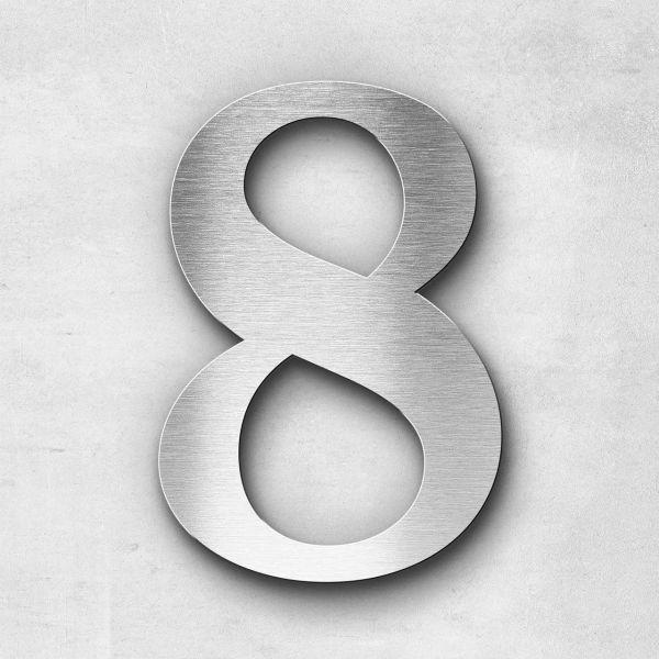 Hausnummer 8 Edelstahl - Serie Serif