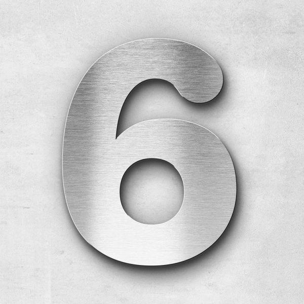 Hausnummer 6 Edelstahl - Serie Classic