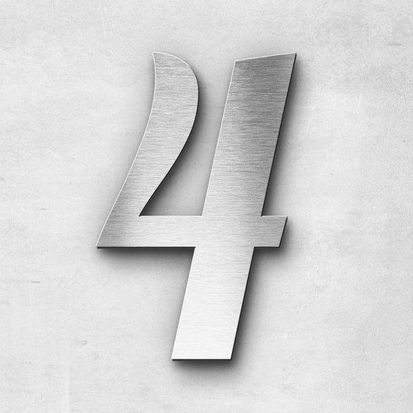 Hausnummer 4 Edelstahl - Serie Elegant