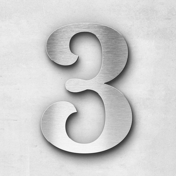 Hausnummer 3 Edelstahl - Serie Serif