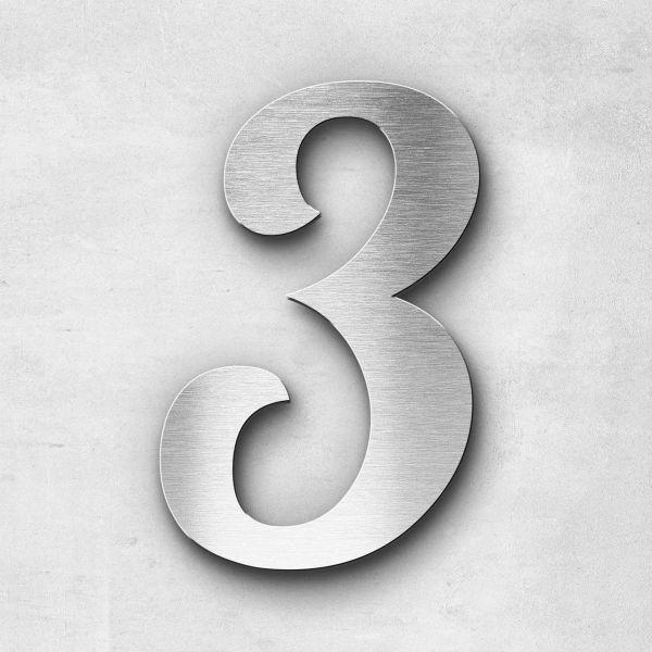 Hausnummer 3 Edelstahl - Serie Elegant