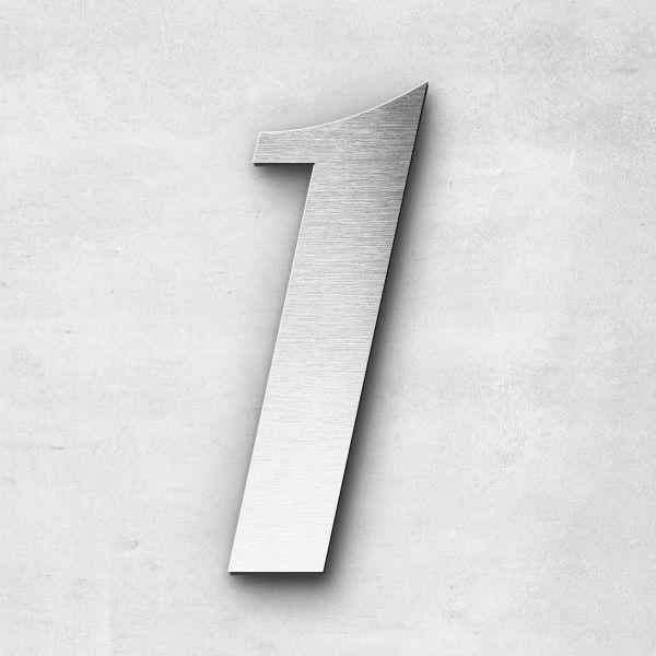 Hausnummer 1 Edelstahl - Serie Elegant