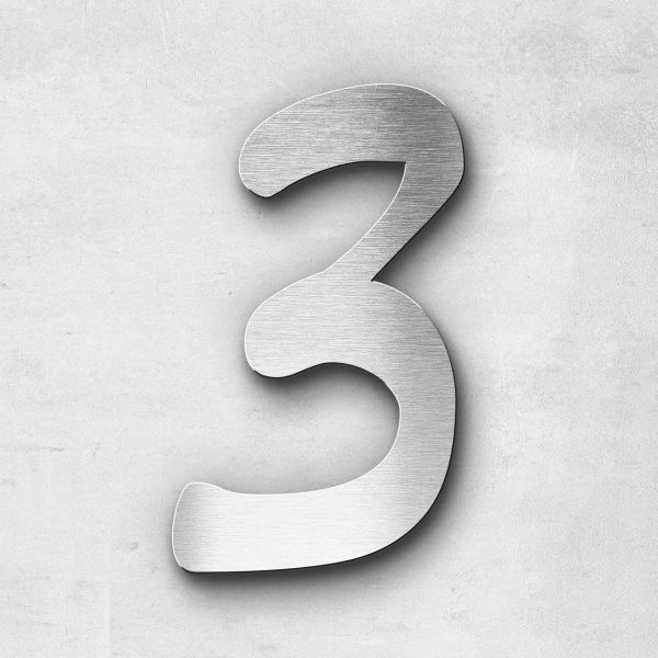 Hausnummer 3 Edelstahl - Serie Malta