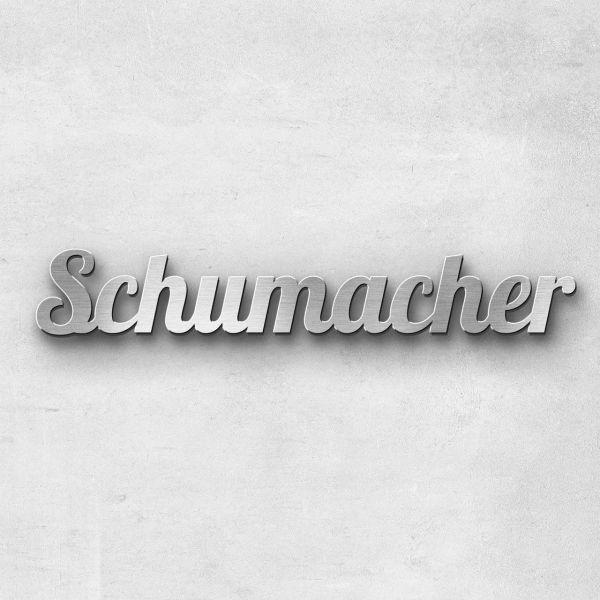 "Schriftzug ""Schumacher"" Edelstahl gebürstet"