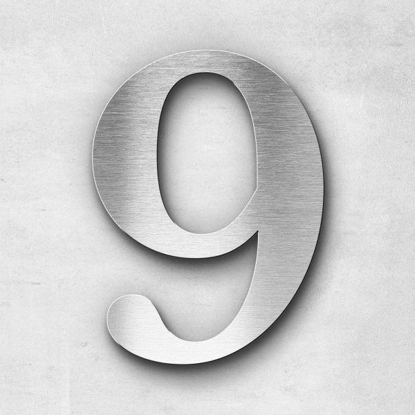 Hausnummer 9 Edelstahl - Serie Serif