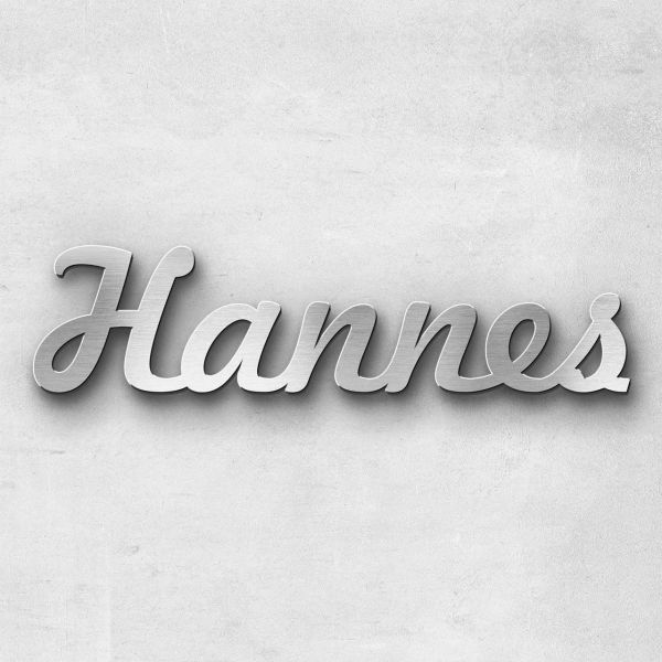 "Schriftzug ""Hannes"" Edelstahl gebürstet"