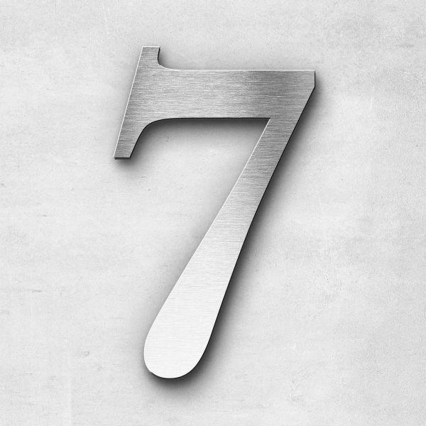 Hausnummer 7 Edelstahl - Serie Serif