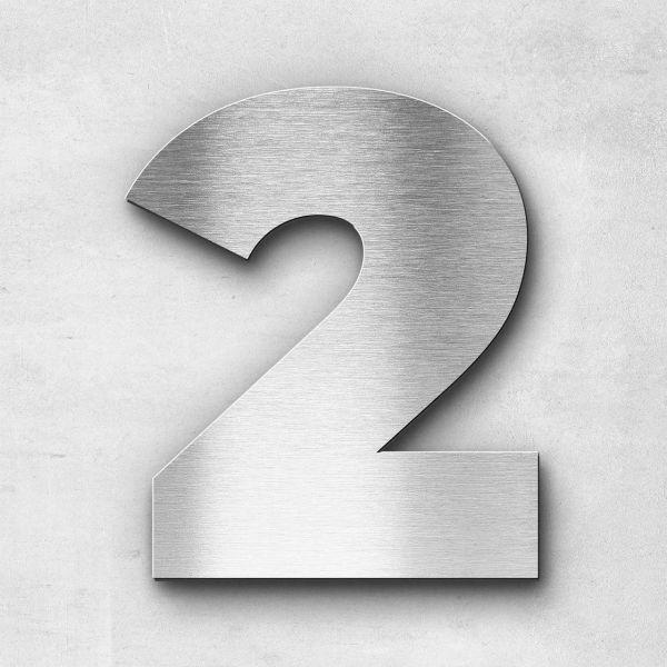 Hausnummer 2 Edelstahl - Serie Kontrast
