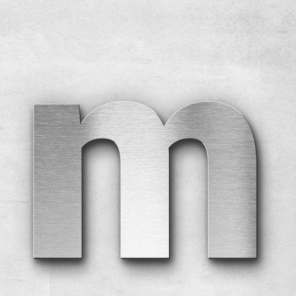 Edelstahlbuchstabe m klein - Serie Sans