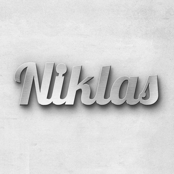 """Schriftzug """"NIKLAS"""", Breite: 18 cm, Schriftart: Blash, Befestigung: Ohne"""