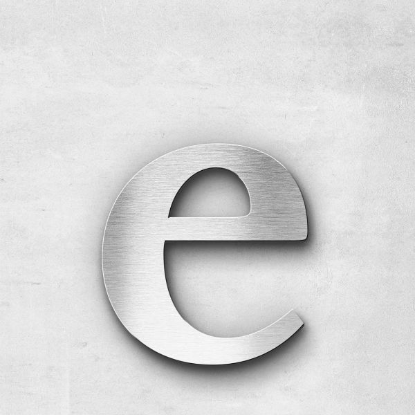 Edelstahlbuchstabe e klein - Serie Serif