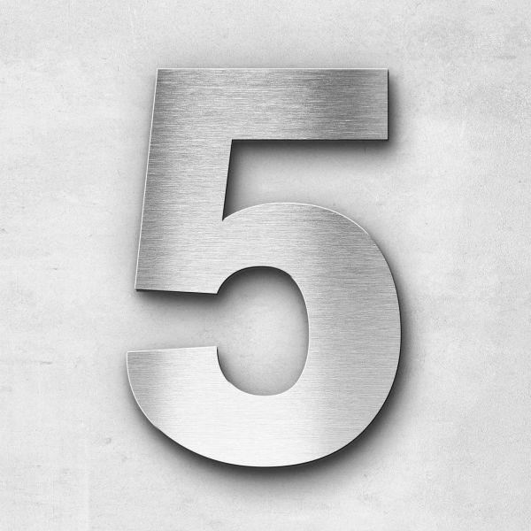 Hausnummer 5 Edelstahl - Serie Sans