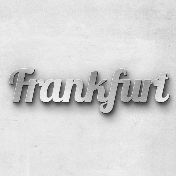 "Schriftzug ""Frankfurt"" Edelstahl gebürstet"