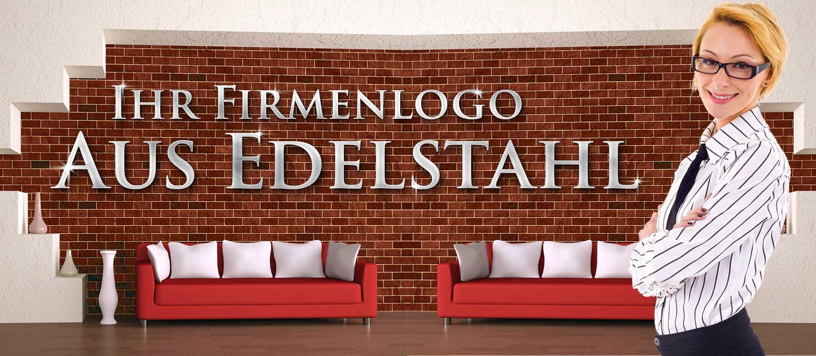 Firmenlogo oder Firmenschriftzug aus Edelstahl von Signostar.de