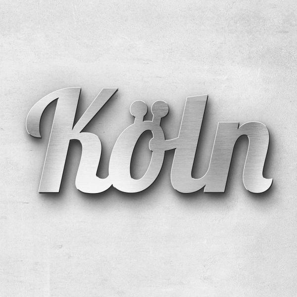 """Schriftzug """"Köln"""" Edelstahl gebürstet"""