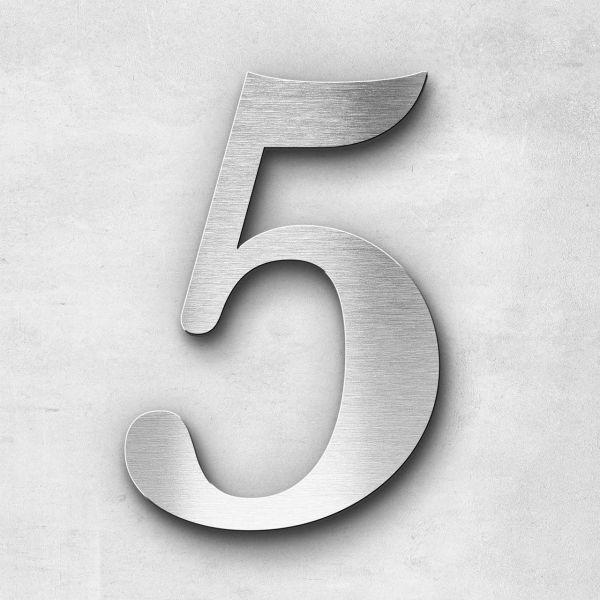 Hausnummer 5 Edelstahl - Serie Serif