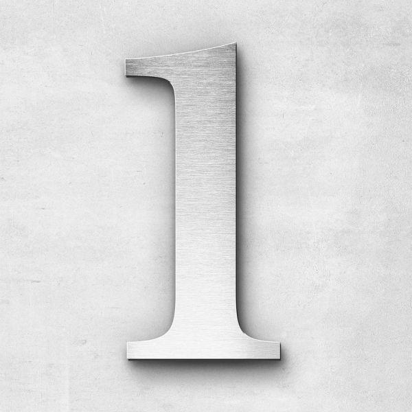 Hausnummer 1 Edelstahl - Serie Serif