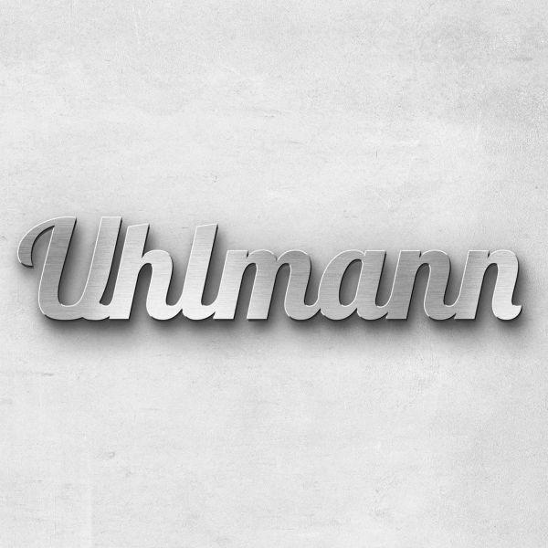 """Schriftzug """"Uhlmann"""" Edelstahl gebürstet"""