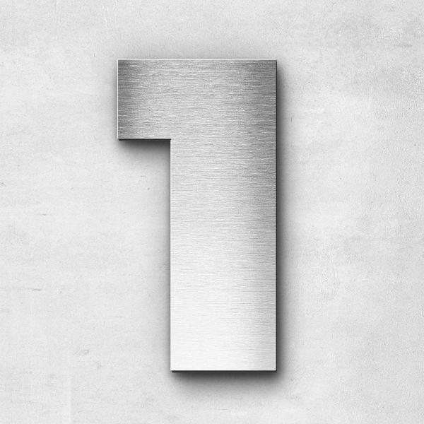 Hausnummer 1 Edelstahl - Serie Kontrast