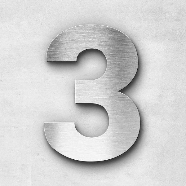 Hausnummer 3 Edelstahl - Serie Sans