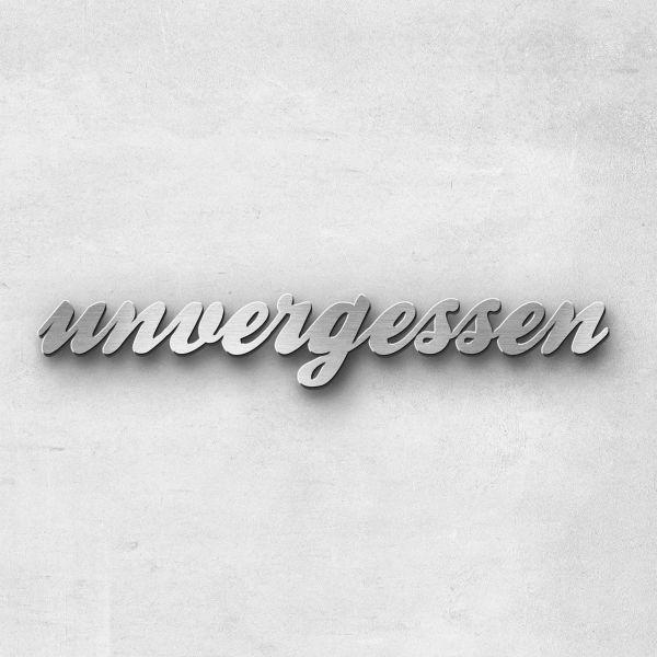 """Schriftzug """"unvergessen"""", Breite: 16 cm, Schriftart: Lilly, Befestigung: Selbstklebend"""