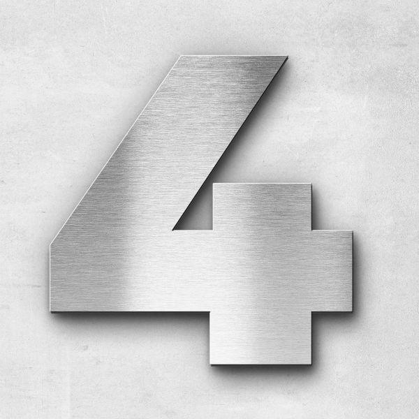 Hausnummer 4 Edelstahl - Serie Kontrast