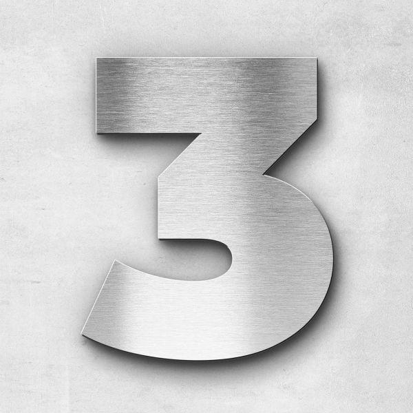 Hausnummer 3 Edelstahl - Serie Kontrast