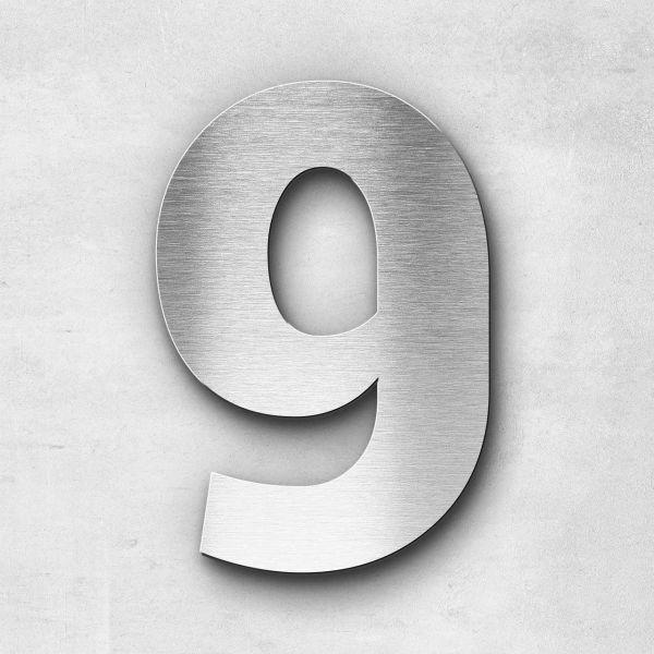 Hausnummer 9 Edelstahl - Serie Sans