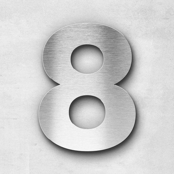 Hausnummer 8 Edelstahl - Serie Classic