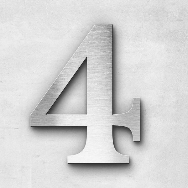 Hausnummer 4 Edelstahl - Serie Serif