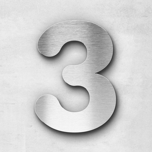 Hausnummer 3 Edelstahl - Serie Classic