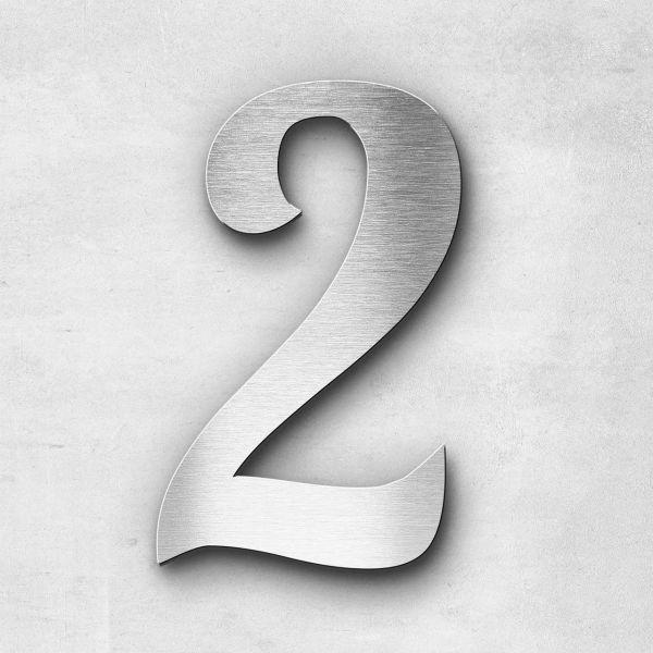 Hausnummer 2 Edelstahl - Serie Elegant